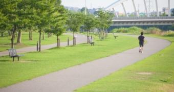 河川敷を走る男性ランナー